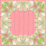 Summer frame with flowers and leaves on a pink background wooden texture. Delicate vintage tone. Stock Photo
