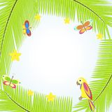 Frame with palm tree and parrots Royalty Free Stock Photography