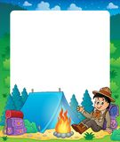 Summer frame with scout boy theme 1 Royalty Free Stock Photography