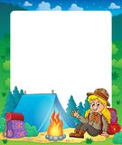 Summer frame with scout girl theme 1 Royalty Free Stock Photo