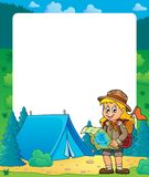 Summer frame with scout girl theme 2 Stock Photos