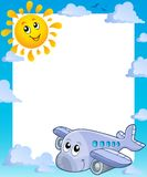 Summer frame with sun and airplane Royalty Free Stock Photos