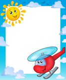 Summer frame with sun and helicopter Stock Image