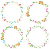 Summer frames with flora and fauna - vector Stock Images