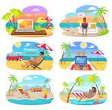 Summer Freelance Distant Work Colorful Posters Set. Vector illustration green palm trees cheerful people with laptops, seascapes and job on vacation royalty free illustration