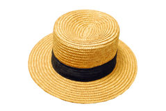 Summer french straw hat. French canotier straw hat isolated on white background Stock Photo