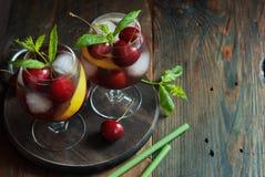 Summer fresh cherry mojito Royalty Free Stock Photos
