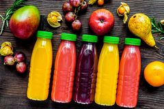 Free Summer Fresh Drink In Plastic Bottle On Wooden Background Top Vi Stock Photos - 113076743