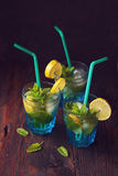 Summer fresh drink. Mojito, Home made summer fresh drink. Lemonade with mint in glass on wooden rustic background Royalty Free Stock Images