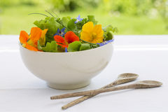 Summer fresh flowers salad in bowl Royalty Free Stock Images