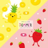 Summer Fresh Fruit Pineapple Strawberry Cartoon Smile Funny Cute Set Character Vector. Design Stock Photos