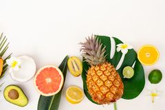 Summer fresh fruits. Fresh exotic fruits with green tropical leaves flat lay top view border, summer healthy diet background royalty free stock image
