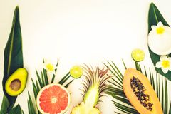 Summer fresh fruits. Fresh exotic tropical cuted fruits with green tropical leves flat lay top view border with copy space, summer healthy diet background, toned royalty free stock photography