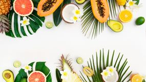 Summer fresh fruits. Fresh fruits with green tropical leves flat lay top view border, summer diet banner background with copy space stock photography