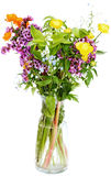 Summer fresh natural flowers in glass vase Royalty Free Stock Images