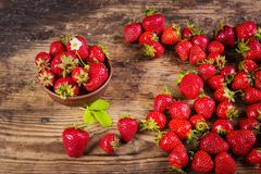 Fresh red strawberry on wood background Royalty Free Stock Photo