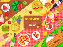 Summer Friends Picnic Poster with Delicious Food Royalty Free Stock Images