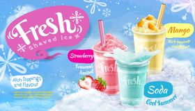 Summer frozen ice shaved poster. With strawberry, mango and soda flavors in 3d illustration, blue snowflakes background stock illustration