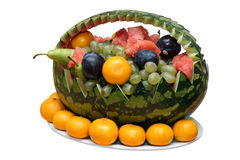Summer fruit. In a basket from a water-melon separately on a white background Royalty Free Stock Images