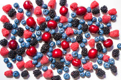 Summer fruit and berries. 6 types of raw organic farmer berries - raspberries blackberries blueberries strawberries red currants g. Ooseberries. Close top view Royalty Free Stock Image