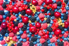 Summer fruit and berries. 6 types of raw organic farmer berries - raspberries blackberries blueberries strawberries red currants g. Ooseberries. Close top view Royalty Free Stock Images