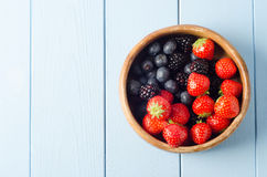 Summer Fruit Bowl Overhead Stock Photography