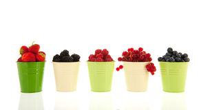 Summer fruit in buckets Royalty Free Stock Photos
