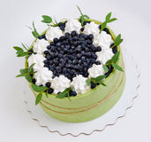 Summer fruit cake rolled in  a pistachio  biscuit with billberry Royalty Free Stock Images