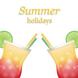 Summer fruit cocktails with ice Royalty Free Stock Photos