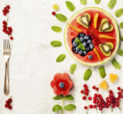 Summer fruit concept. Watermelon, fruits, berries and mint leave Stock Photography