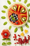Summer fruit concept. Watermelon, fruits, berries and mint leave Royalty Free Stock Photography