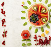 Summer fruit concept. Watermelon, fruits, berries and mint leave Royalty Free Stock Photo