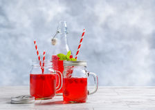 Summer Fruit Drinks. Summer raspberry fruit drinks with straws Royalty Free Stock Photo