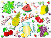 Summer Fruit Fun Doodle Vector Illustration
