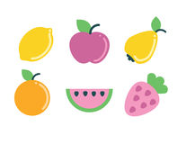 Summer fruit geometric icons set Royalty Free Stock Photography