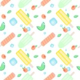 Summer fruit ice-cream pattern. Vector seamless pattern with different popsicles, mint leaves, peaches or apricots and ice cubes o Stock Photography