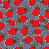 Summer fruit illustration. Seamless  background with red strawberries. Cute strawberry pattern. Summer fruit illustration. Seamless  background with red Royalty Free Stock Image