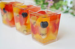 Summer Fruit Jelly. In a cup Stock Photos