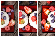 Summer fruit platter triptych Royalty Free Stock Image