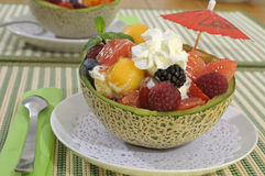 Summer fruit salad bowl royalty free stock images
