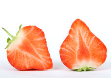 Summer fruit salad ingredients, sliced red strawberries stock photo