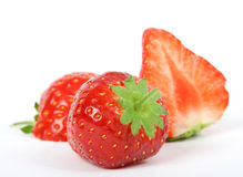Summer fruit salad ingredients, sliced strawberries royalty free stock image
