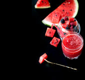 Summer fruit salad of watermelon flesh Stock Photos
