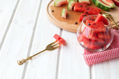 Summer fruit salad of watermelon flesh Royalty Free Stock Photo