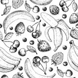 Summer fruit seamless pattern. Hand drawn vintage vector background. Fruit and berry set of banana, cherry, srawberry, Royalty Free Stock Image