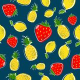 Summer fruit seamless pattern with strawberry and lemon royalty free illustration
