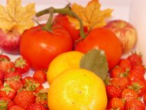 Summer fruit. A selection of fresh fruit with autumn leaves Royalty Free Stock Photography