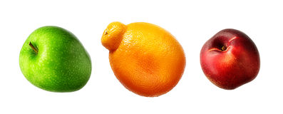 Summer fruit set against a white background. Apple, nectarine, orange Royalty Free Stock Photos