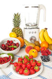 Summer fruit and smoothie blender royalty free stock photography