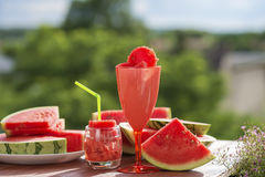 Summer fruit still life, natural watermelon freshness. Royalty Free Stock Image